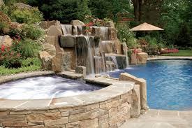 Large Backyard Swimming Pool Waterfall Design Bergen County Nj