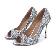<b>2016 Spring</b> Rhinestone Wedding Shoes Peep Toe Stiletto Heel ...