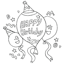 Coloring Page Happy Birthday Hello Kitty Happy Birthday Coloring