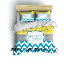 chevron and damask yellow turquoise bedding duvet cover or comforter personalize monogram pick custom covers uk printed quilt australia south africa