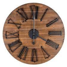 round natural wood wall clock hobby