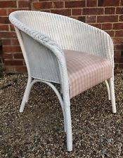 New ListingVintage White Painted Lloyd Loom Wicker Armchair / Bedroom Chair