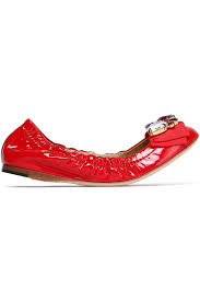 womens dolce gabbana ballet flats embellished patent leather red