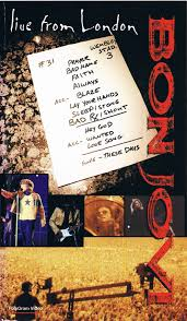 It was the band's first concert video and was shot at wembley stadium directed by david mallet and produced by andy picheta, the release shows bon jovi performing some of their staple live hits, and also some songs. Bon Jovi Live From London 1995 Vhs Discogs