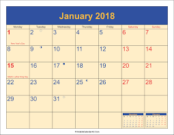 calendar january 2018 template january 2018 calendar with holidays printable 2017 calendars