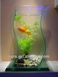 fish for office. 2014 wholesale mini aquarium office desk small fish tank acrylic white goldfish bowl lamp submersible pump for