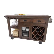 Home Decorators Collection Cooper Rustic Walnut Kitchen Cart with Storage