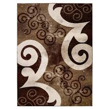 city collection contemporary abstract swirls chocolate brown beige 5 ft x 7 ft indoor