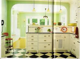 Retro Kitchen Floor Excellent Retro Green Kitchen Ideas With Black And White Flooring