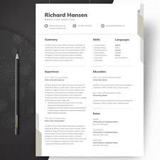 Creative Marketing Resume Marketing Resume Template Professional And Creative Cv Template Word Resume Curriculum Vitae