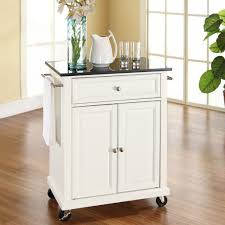 Granite Top Kitchen Cart White Kitchen Cart With Granite Top And Locking Casters Wheels