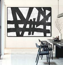 hand painted extra large abstract painting horizontal acrylic painting large wall art black white