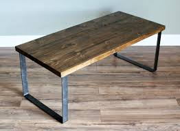 modern rustic industrial coffee table with solid douglas fir wood top raw flat stock steel