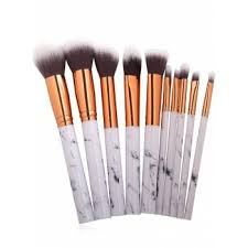 marble makeup brushes. 10pcs marble design handle makeup brushes set - white
