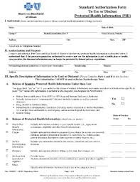 Fillable Bluecross Blueshield Of Texas Standard Authorization Form ...