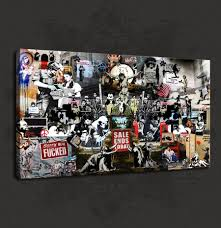 details about banksy graffiti artist collection canvas print wall