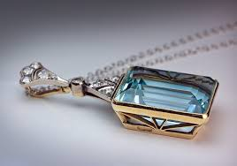 art deco aquamarine pendant necklace