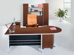 Furniture: Fascinating White Office Design With Stained Wood Executive Desk  And Bookcase Cabinet Featuring Black