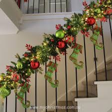 Christmas Decoration with staircase Garland Ideas