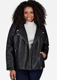 plus size faux leather moto jacket plus size jacket sherpa hood faux leather moto jacket