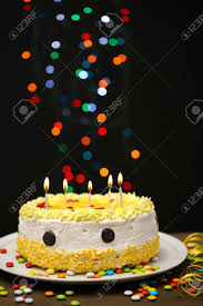 Happy Birthday Cake On Black Background Stock Photo Picture And