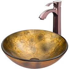 vigo copper shapes glass vessel sink and otis faucet set in oil rubbed bronze vgt335