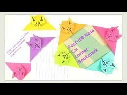 paper crafts origami cat post it note crafts diy origami cat bookmark sbook corner find this pin and more on aim red ted art