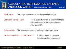 Straight Line Depreciation Salvage Value Lesson 14 5 Planning And Recording Depreciation Adjustments