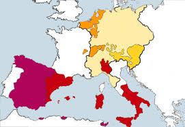 charles v s european territories red represents the crown of aragon magenta the crown of castile orange his burgundian inheritances mustard yellow his