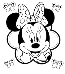 Mickey Mouse 1st Birthday Coloring Pages Black White Baby Minnie