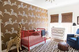 Brown and Red Nursery with Red Jenny Lind Crib