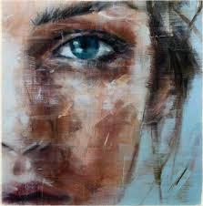 oil art woman face blue eyes painting wallpaper