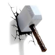 Thor Hammer Led Light Creative Avengers Alliance Thor Hammer 3d Led Wall Lamps For