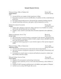 How To Write A Resume College Student Internship Resume For Study