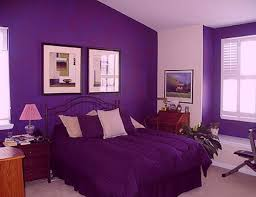 Ritzy Suite Bedroom Design With Purple Wall Painted Also Iron Bed Frame As  Well As Wooden Nightstands As Decorate Purple Themes Dark Bedroom Ideas