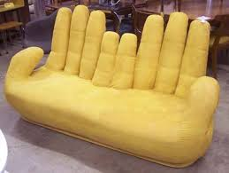 Vintage Hand sofa or couch in rich luxurious yellow ultrasuede .