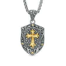 effy collection men s gothic style cross filigree frame shield pendant in sterling silver and