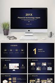 Blue And Gold Powerpoint Template Blue Gold Financial Technology Work Summary Ppt Template Pikbest