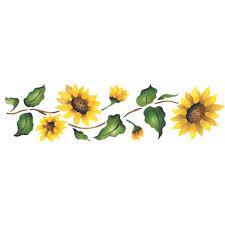 designer stencils sunflower border wall