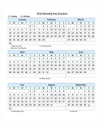 Biweekly Payroll Schedule Calendar Template 31 Day Free