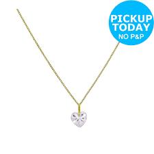 details about revere 9ct gold cubic zirconia heart pendant