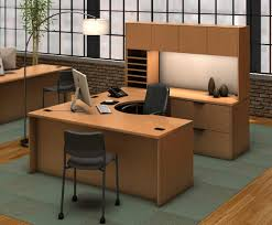 combined office interiors desk. Cozy Working Room With A Set Of Wooden Computer Desk Combined Armed Black Chair And Arch Floor Lamp Glowing Shade Also Telephone On The Office Interiors C