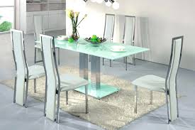 White Leather Stainless Steel Dining Chairs Furniture Rectangle Soft Blue  Small Glass Table Base Fur Rug