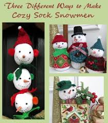 three diffe ways to make sock snowmen for and the winter season