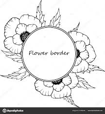 Template Anniversary Card Flower Vector Drawing Frame Isolated Template Hand Drawn
