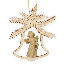 Christbaumschmuck Holz Natur Glocke Mit Engel Höhe 9cm