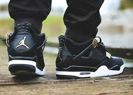 jordan 4 retro. nike air jordan iv retro 4 royalty black gold white - size 11 (308497-032)