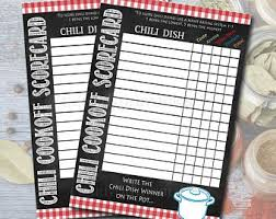 chili cook off judging sheet cookoff score card etsy