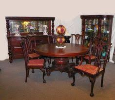matching antique gany dining room set table curio sideboard 6 chairs ebay