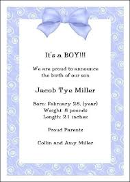 Baby Boy Announcement Template Birth Letter Sample